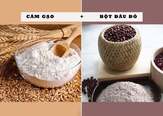 Bột đậu đỏ và cám gạo