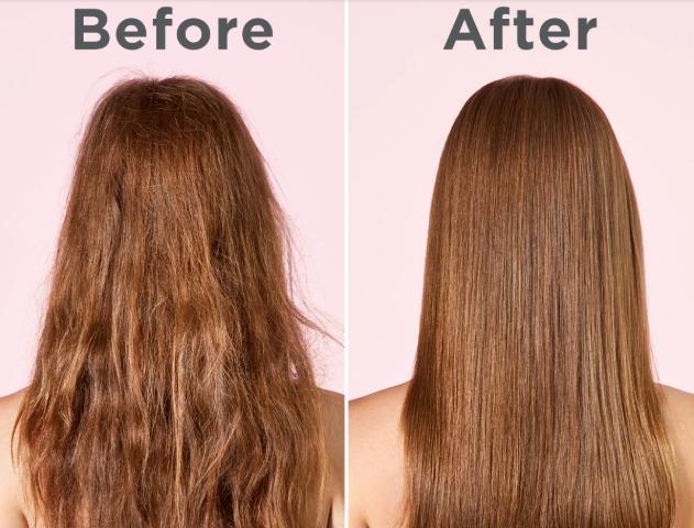 tóc chẻ ngọn trước và sau khi chăm sóc