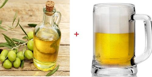 gội đầu bằng bia với dầu ô liu